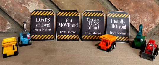 Construction valentine tags