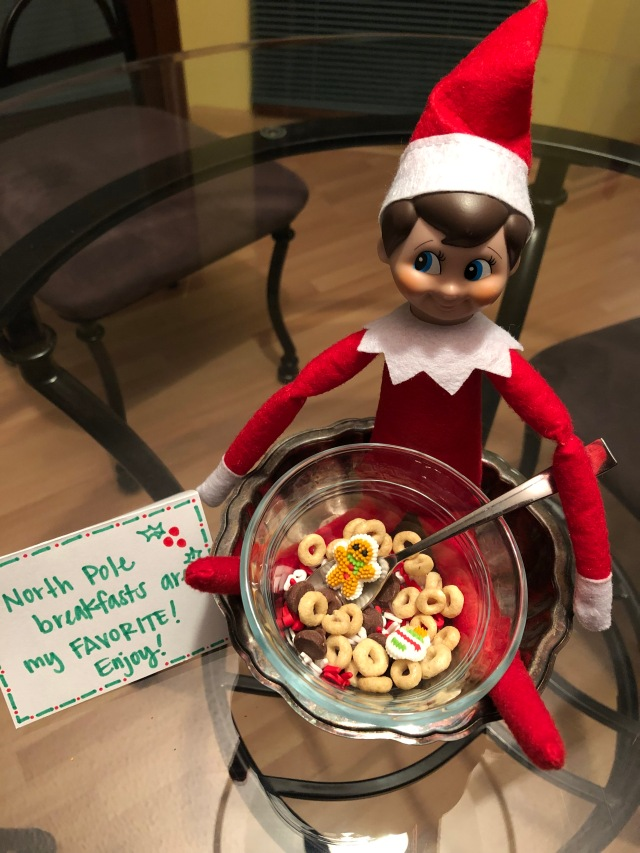 Elf on the Shelf with North Pole breakfast