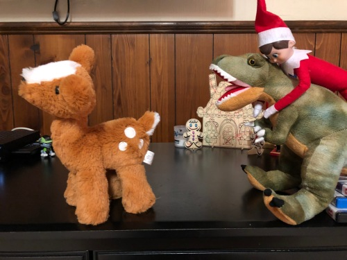 Elf on the Shelf racing stuffed animals