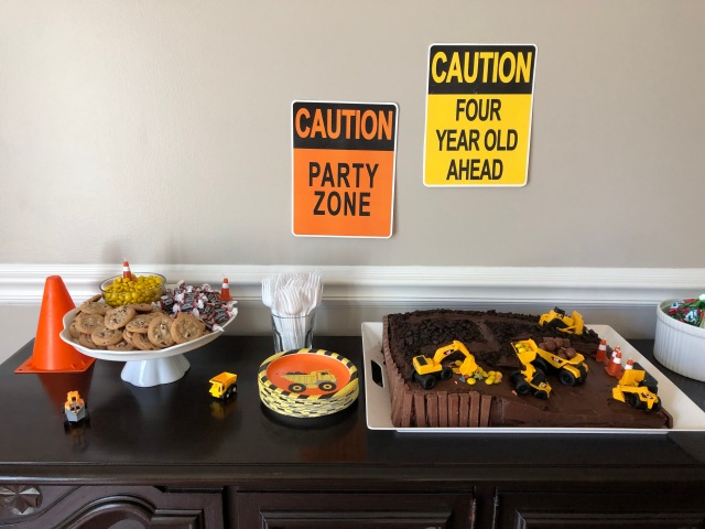 Construction site birthday party dessert table